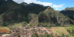 View of the town of Pisaq in Peru, near the Potato Park Biocultural Heritage Territory